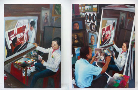 Painting No. 03 (150x100cm) by Chen Yi; Painting No. 04 (75x100cm) by Huang Wei Ching